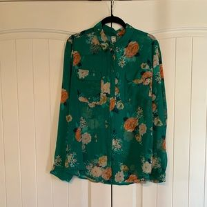 Green floral buttoned down blouse